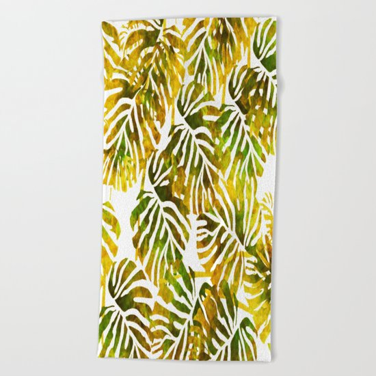 Sunset Tropical Leaves Abstract Beach Towel