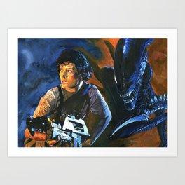 Ripley and the Alien - Aliens, Xenomorph Sci Fi Original Painting, Acrylic on Canvas Art Print