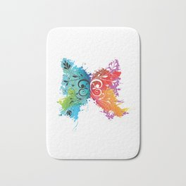Cute Flower Floral Butterfly Art Colorful Abstract Artwork Gift Bath Mat