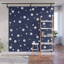Minimal Abstract White Dots on Dark Blue  Wall Mural