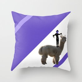 Scissorhands in action on a Lama Throw Pillow