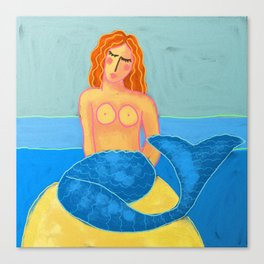 Mermaid with Orange Hair Abstract Digital Painting Canvas Print