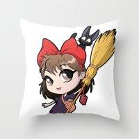 kiki Throw Pillows featuring Chibi Kiki by Warbunny