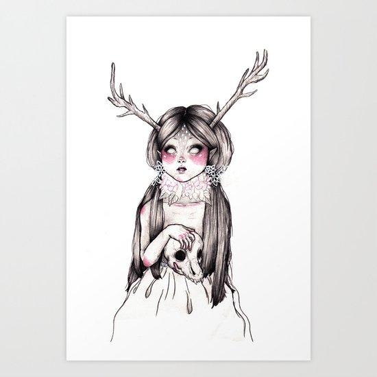 Princess Cervidae (With Color) Art Print