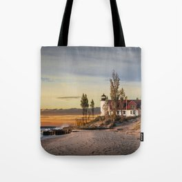 Point Betsie Lighthouse at Sunset Tote Bag