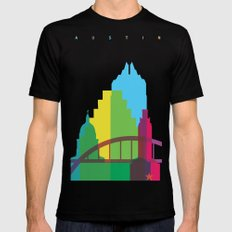 Shapes of Austin. Accurate to scale. Black MEDIUM Mens Fitted Tee