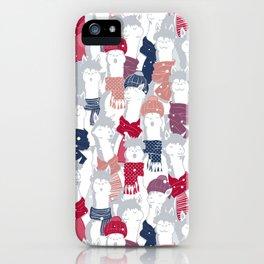 Happy llamas Christmas Choir III iPhone Case