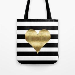 gold heart black and white stripe Tote Bag