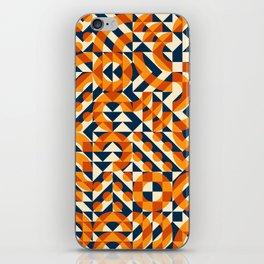 Orange Navy Color Overlay Irregular Geometric Blocks Square Quilt Pattern iPhone Skin