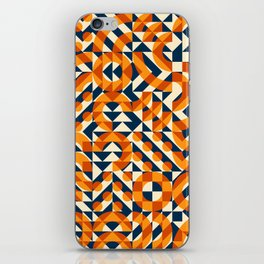 Orange Navy Color Overlay Irregular Geometric Blocks Square Quilt Pattern iPhone Skin