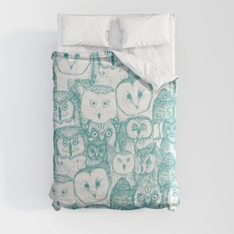 just owls teal blue Comforters