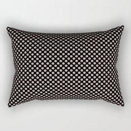 Black and Adobe Rose Polka Dots Rectangular Pillow