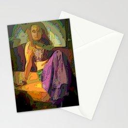 dancer sitting in a mosaic style, purple \ .razhny, sad Stationery Cards