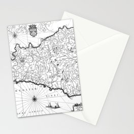 Vintage Map of Sicily Italy (1600s) BW Stationery Cards