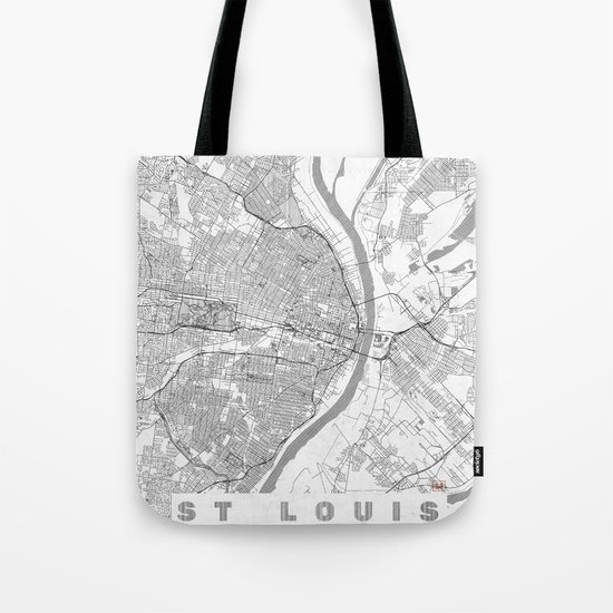 St Louis Map Line Tote Bag