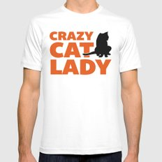 Crazy Cat Lady Funny Quote MEDIUM Mens Fitted Tee White