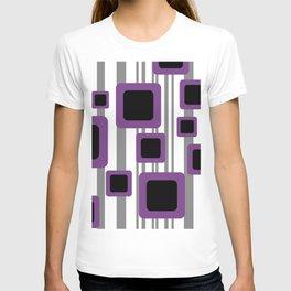 Geometry Rectangles violet Black - grey Stripes T-shirt