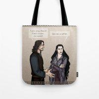 aragorn Tote Bags featuring Quarrel by wolfanita