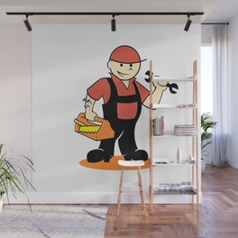 Cartoon handyman with tools Wall Mural