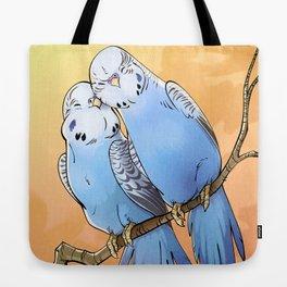 Budgie Lovebirds ! ... parakeets birds love cute animal art blue feathers art illustration Tote Bag