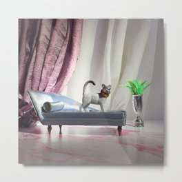 The Fancy Cat + The Chaise Metal Print
