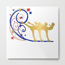 Gold Silhouette Synchro Team Graphic Design Metal Print