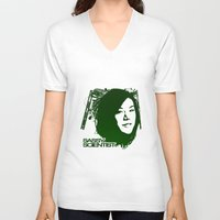 sassy V-neck T-shirts featuring Sassy Scientist by Marchande Rêves