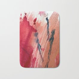 Blushing [2]: a vibrant, minimal abstract in pink, red, and blue details Bath Mat