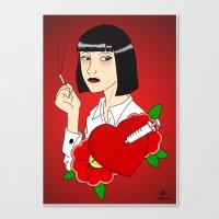 mia wallace Canvas Prints featuring Mia Wallace by Caio Lira