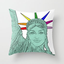 Madonna as The Statue of Liberty! Throw Pillow