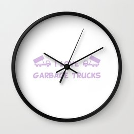 I Love Garbage Trucks Purple Wall Clock