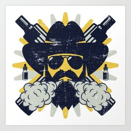 Cloud Chaser - Vaping Bearded Man Art Print