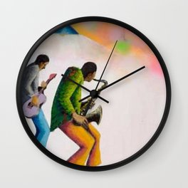 African American Masterpiece 'Bass, Sax, and Jazz' by Benny Andrews Wall Clock