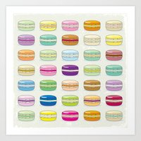 macaroon Art Prints featuring Colorful macaroon set by MiartDesignCreation