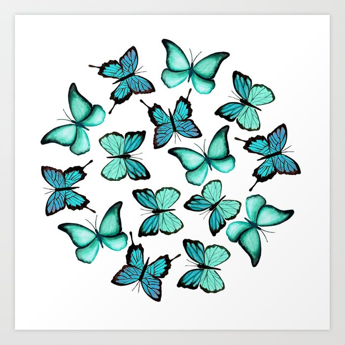 Blue butterflies Art Print