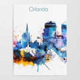 Watercolor Orlando skyline design Poster