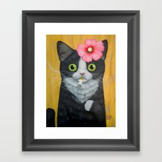 SMOKING KITTY Framed Art Print
