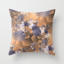 Platinum leaves and fractal vines on gold and copper background Throw Pillow