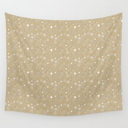 Gold & White Christmas Snowflakes Wall Tapestry