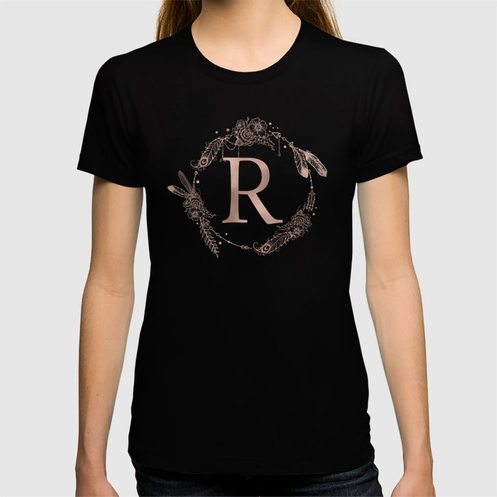 Letter R Rose Gold Pink Initial Monogram T-shirt