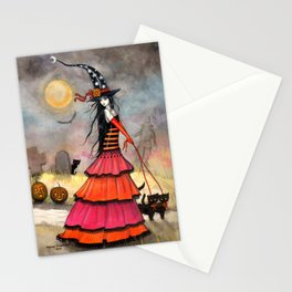 A Halloween Stroll Witch and Cats Art by Molly Harrison Stationery Cards