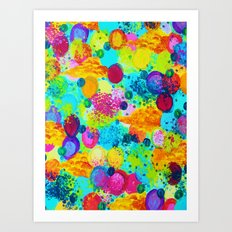 TIME FOR BUBBLY - Colorful Bright Bold Abstract Acrylic Painting, Turquoise Royal Blue Magenta Art Print