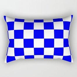 Checkered - White and Blue Rectangular Pillow