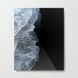 Waves on a black sand beach in iceland - minimalist Landscape Photography Metal Print