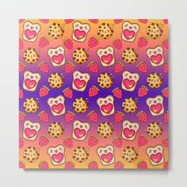 Cute funny sweet adorable happy Kawaii toast with raspberry jam and butter, chocolate chip cookies, red ripe summer strawberries cartoon fantasy purple orange pattern design Metal Print
