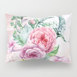 Flowers and leaves in soft purple colors Pillow Sham