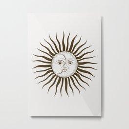 Sun face black Art sun boho Metal Print