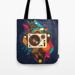 Goodtime Party Music Retro Rainbow Turntable Graphic Tote Bag