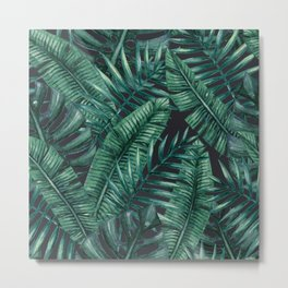 Palm and Banana Leaf Tropical Pattern Metal Print