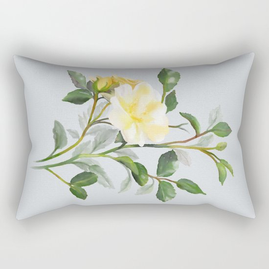 Yellow Watercolor Rose Rectangular Pillow